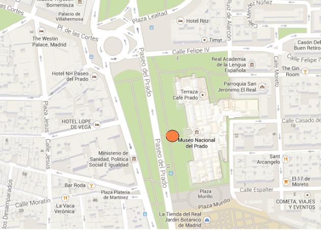 mapa museo del prado, callejero madrid